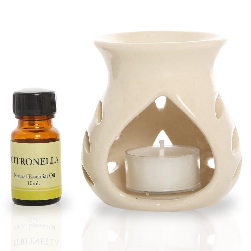 Citronella Ceramic Oil Burner Gift Set