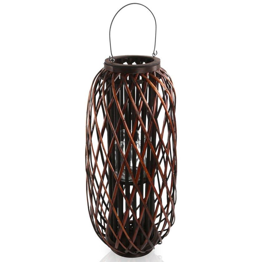 Leah Floor Hurricane Lantern, Brown – Large