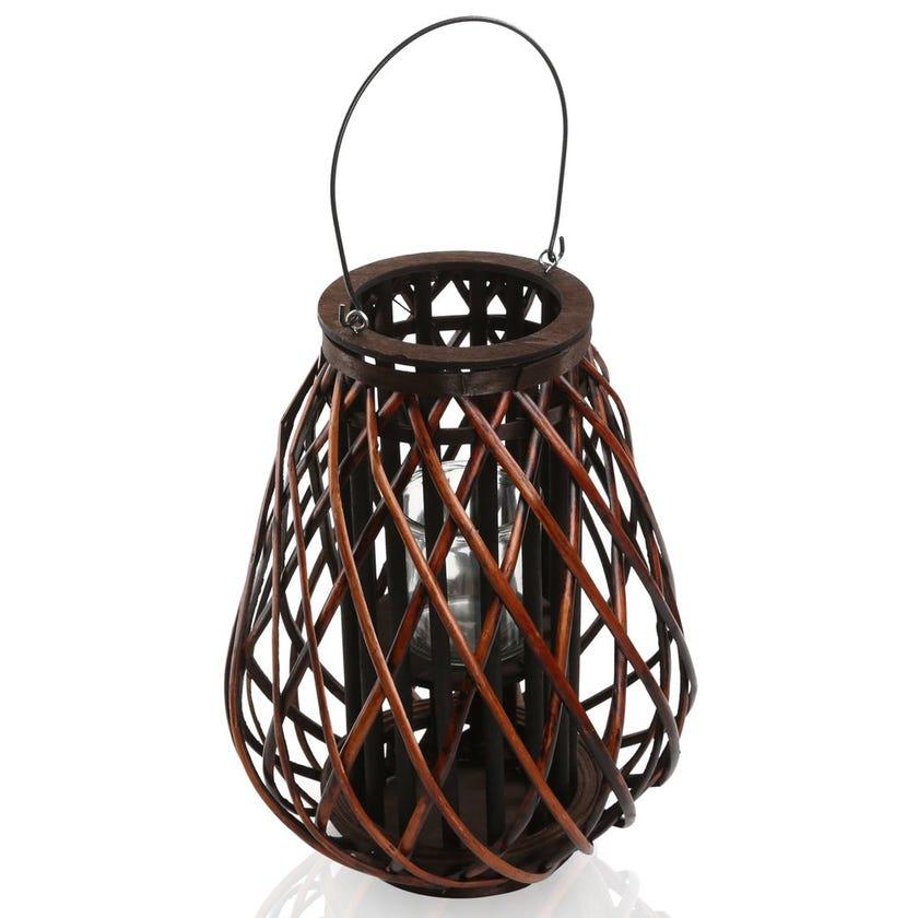 Leah Floor Hurricane Trapeze Lantern, Brown – Small