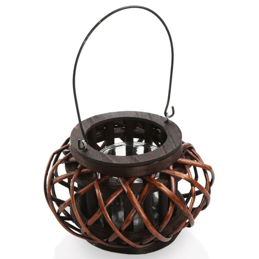 Leah Floor Hurricane Round Lantern, Brown – Medium