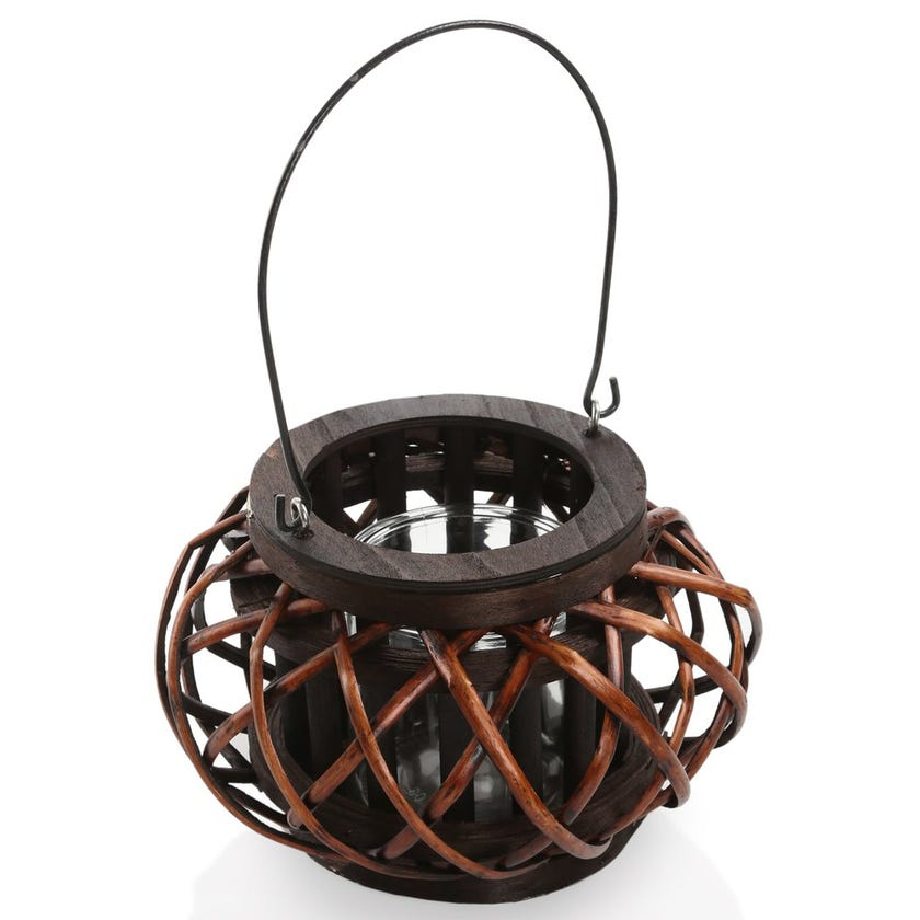 Leah Floor Hurricane Round Lantern, Brown – Small
