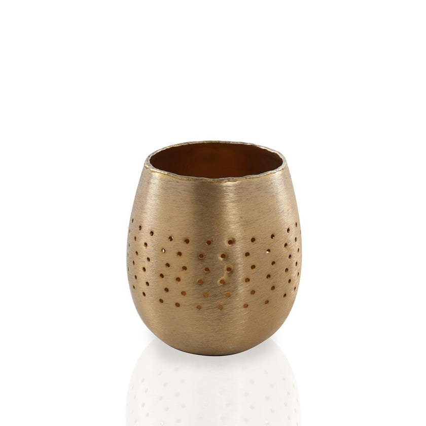 Votive Metal Candle Holder with Rim Holes - Large