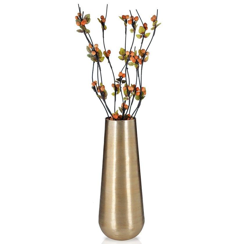Aluminum Rim Pod Vase, Brushed Gold – Small