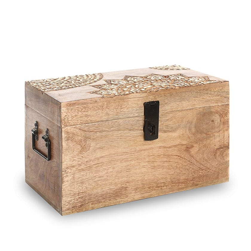 Wooden Trunk, Burnt Gold – Small