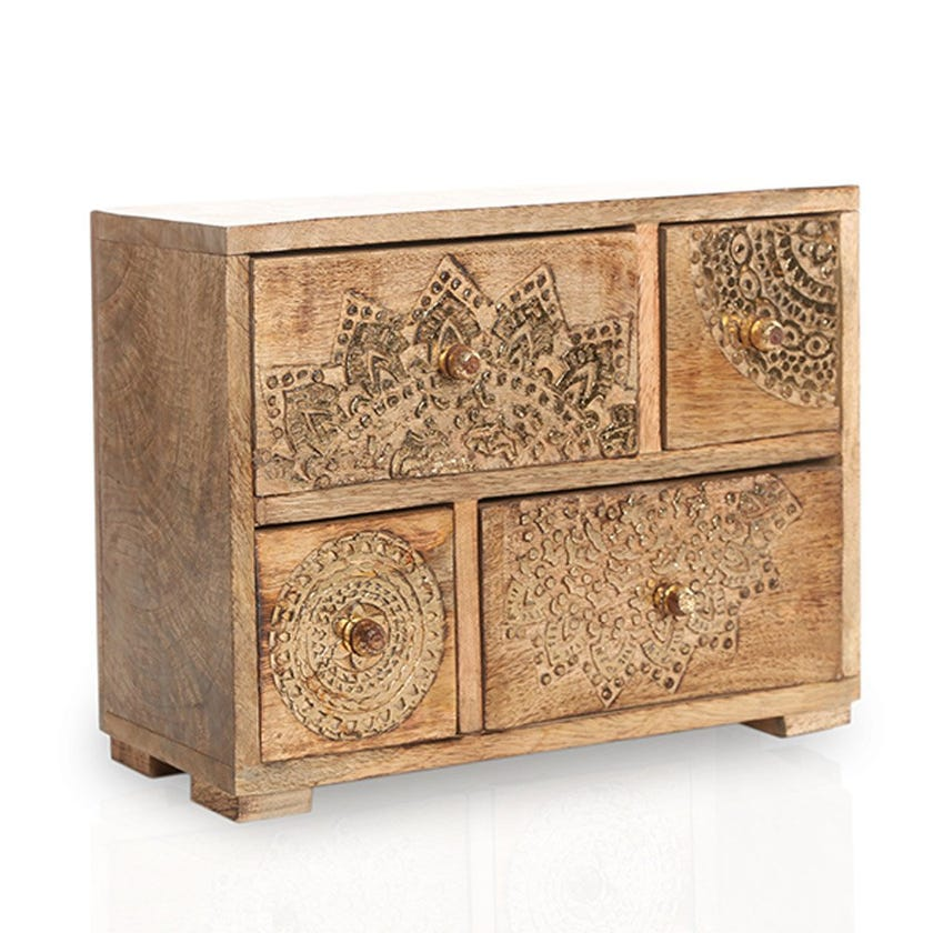 Small Wooden Drawer, Burnt Gold