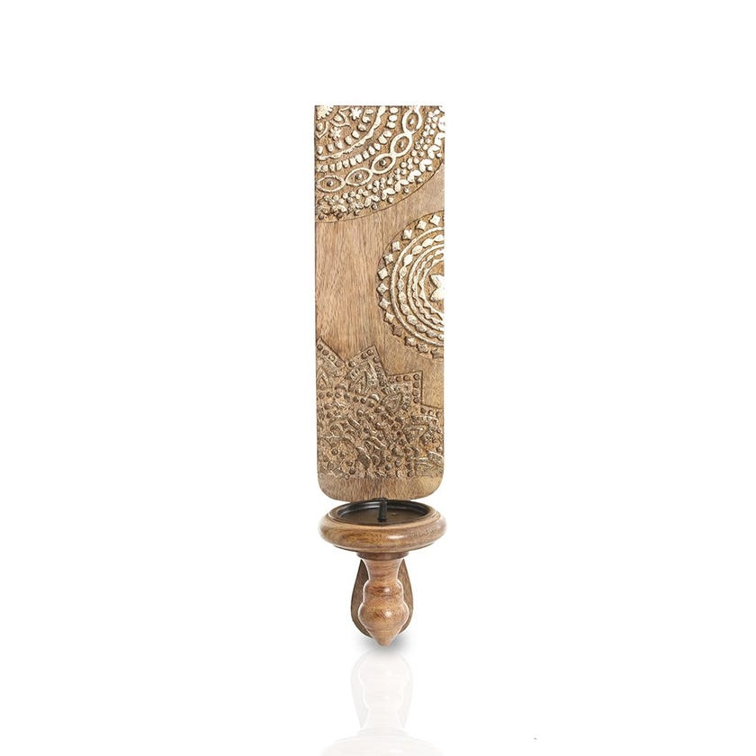 Wooden Wall Sconce, Burnt Gold – Small