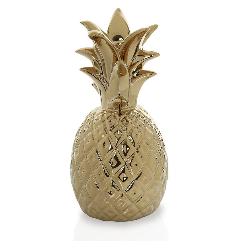 Dolomite Pineapple Candle Holder Figurine, Gold - Small