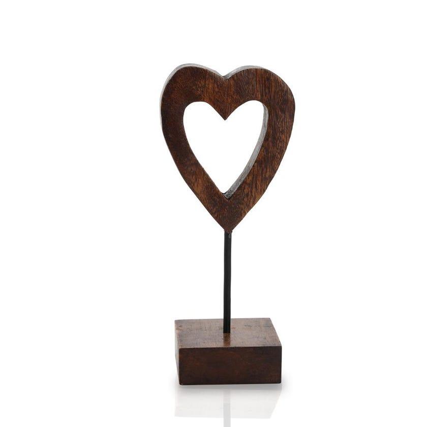 Wooden Outline Heart on Base Figurine - 25 cms