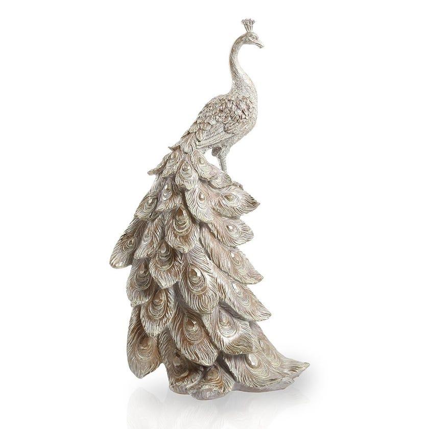 Peacock Figurine, Brown & Grey