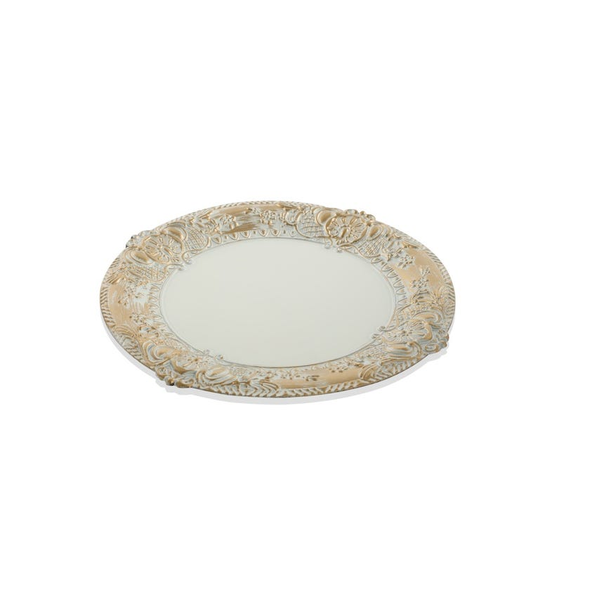 White Charger Plate With Gold