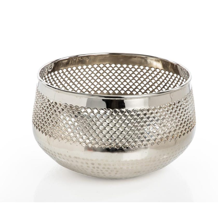 Decorative Floating Candle Bowl, Shiny Silver - Medium