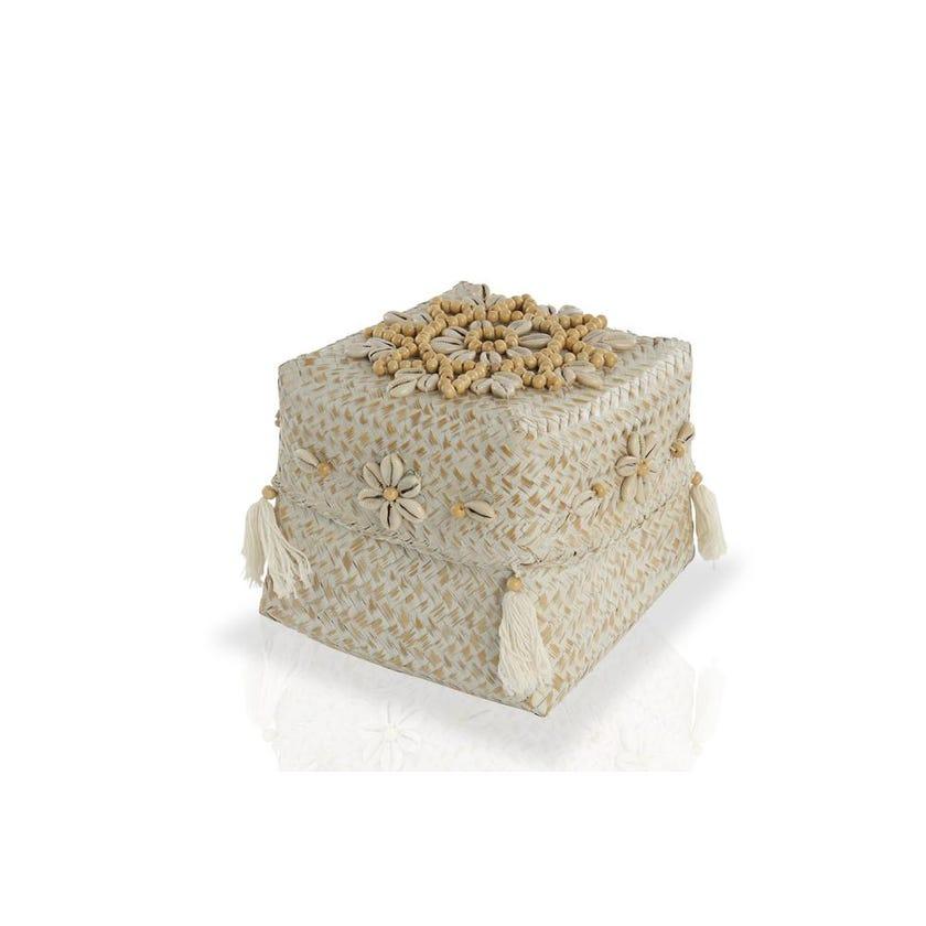 Netanya Bamboo Basket Large - Whitewash