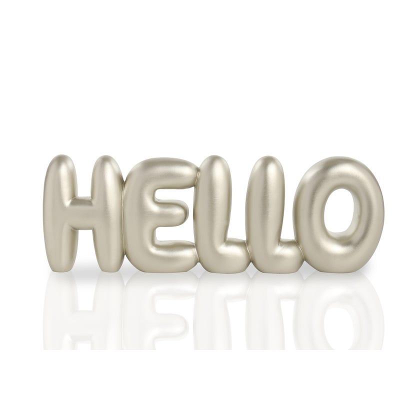 Polyresin Word Décor Piece - Hello (Champagne, 30 x 3 x 10 cms)