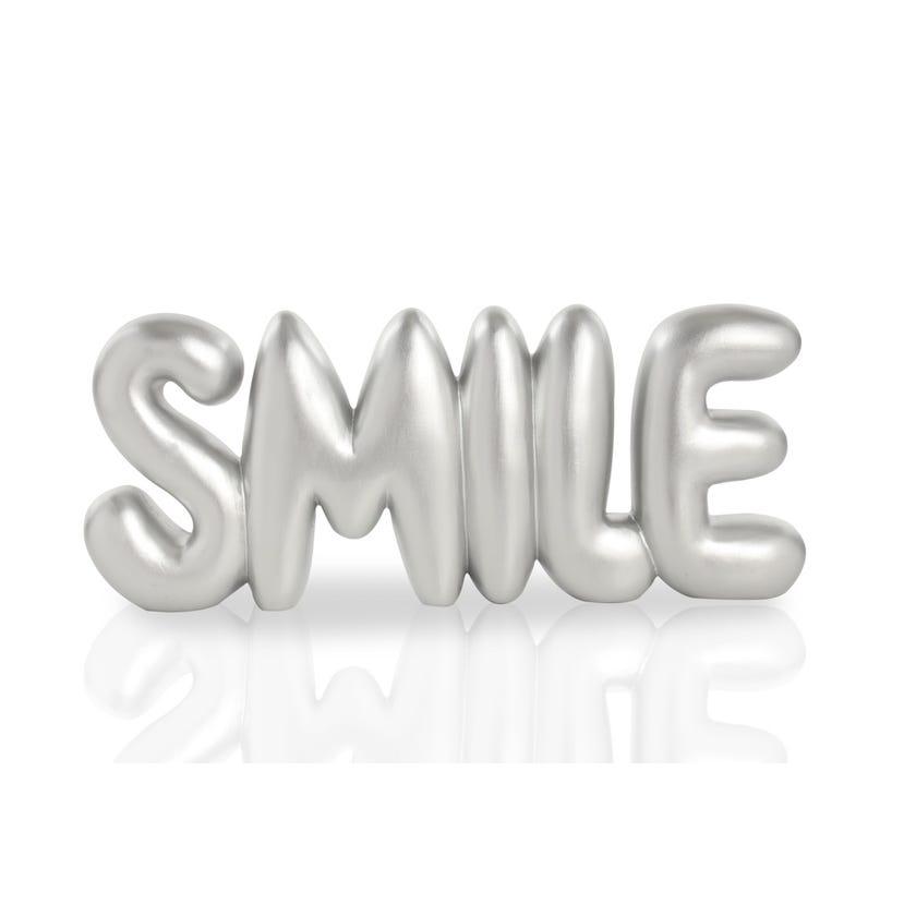 Polyresin Word Décor Piece - Smile (Silver, 25 x 3 x 10 cms)