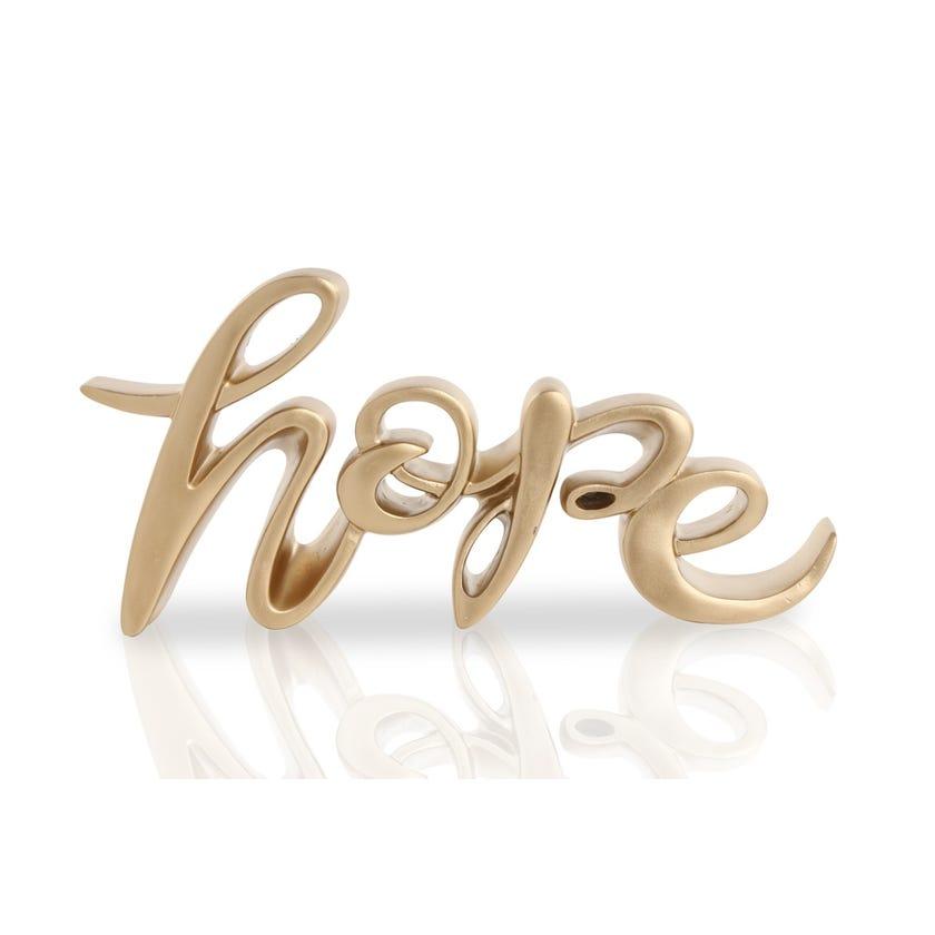 Polyresin Décor Piece - Hope (Gold, 26 x 3.5 x 13 cms)