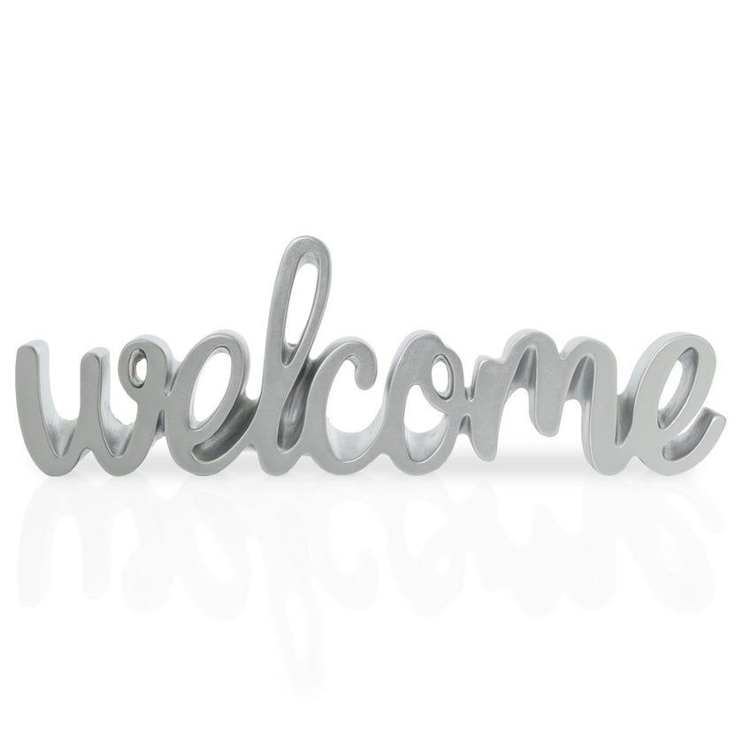 Welcome Polyresin Décor Piece, Silver – 30x2.5x10 cms