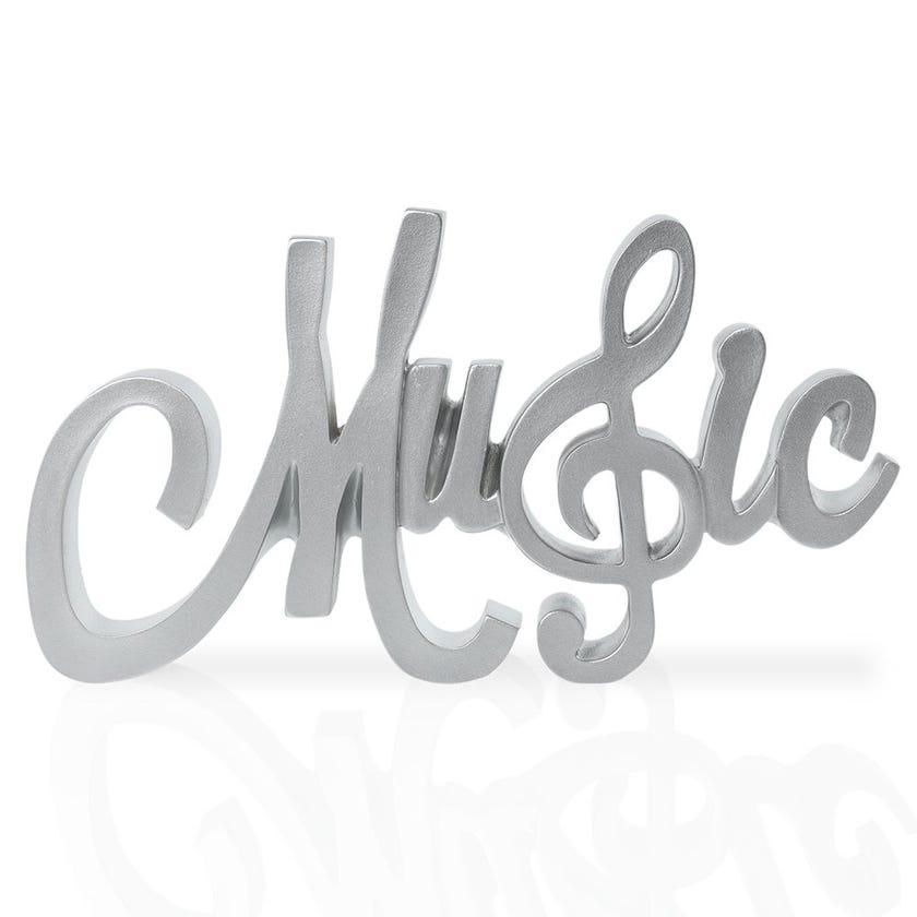Music Polyresin Décor Piece, Silver – 25x2.5x13 cms