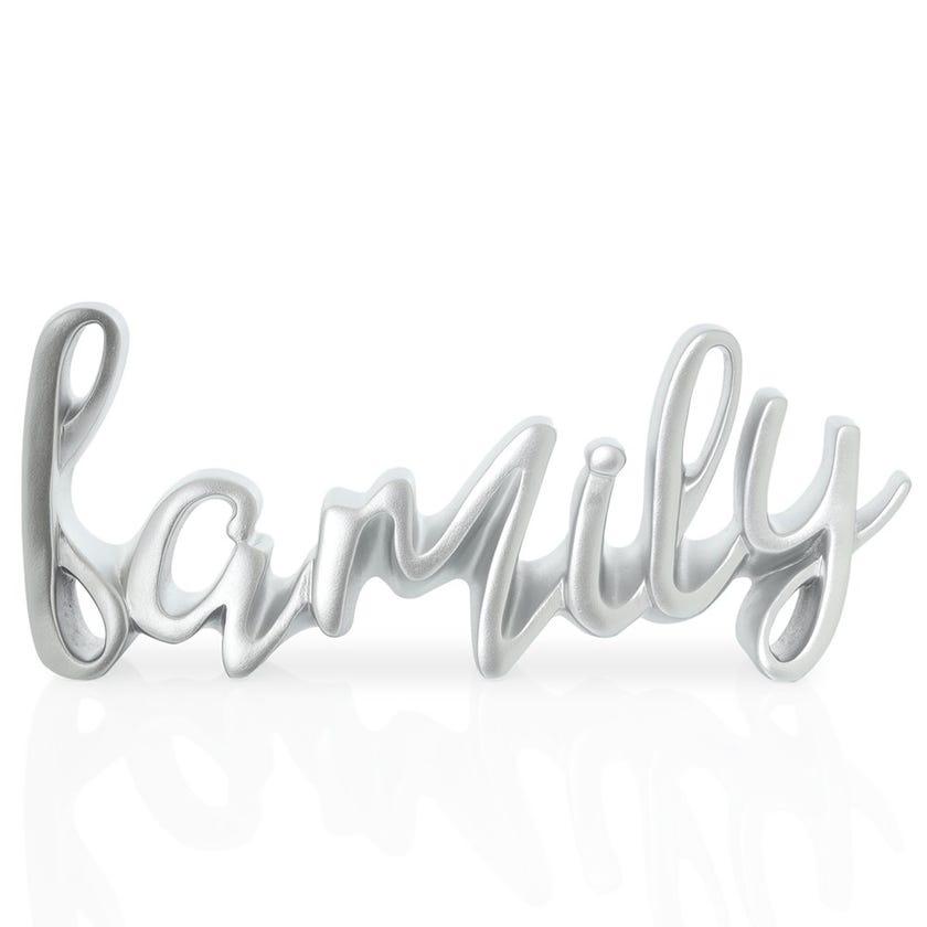 Family Polyresin Décor Piece, Silver – 25x3x10 cms