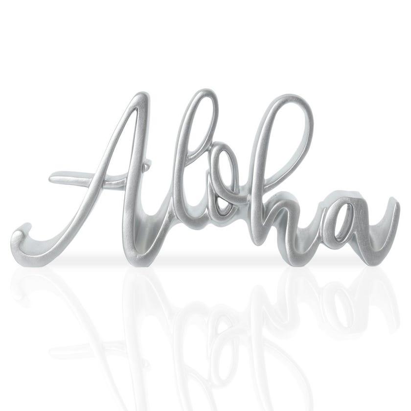 Aloha Polyresin Décor Piece, Silver – 25x3x11 cms