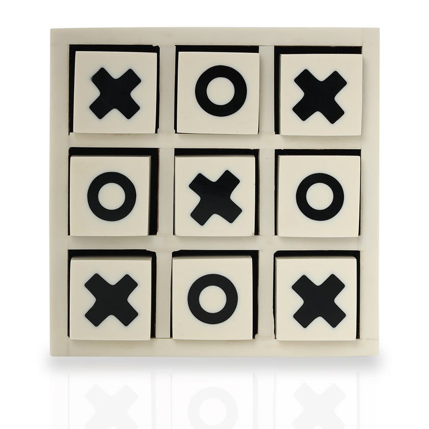 Tic Tac Toe Board Game, Ivory – Small