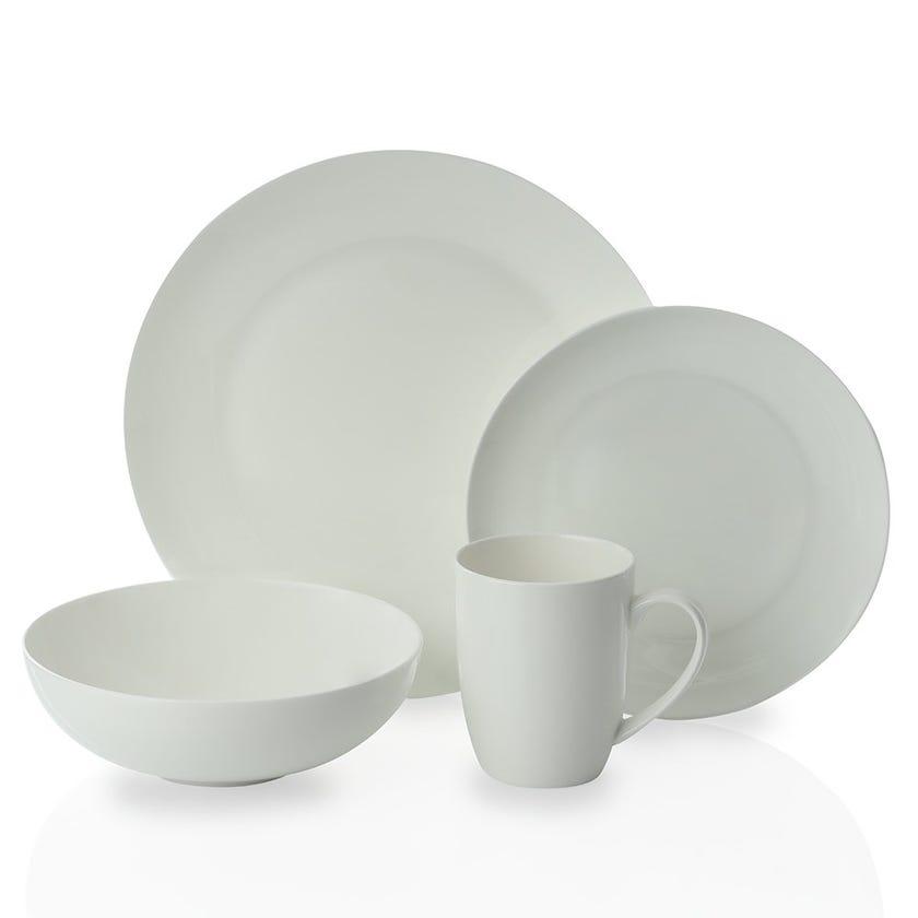 Rideau 16-Piece Bone China Dinner Set, White