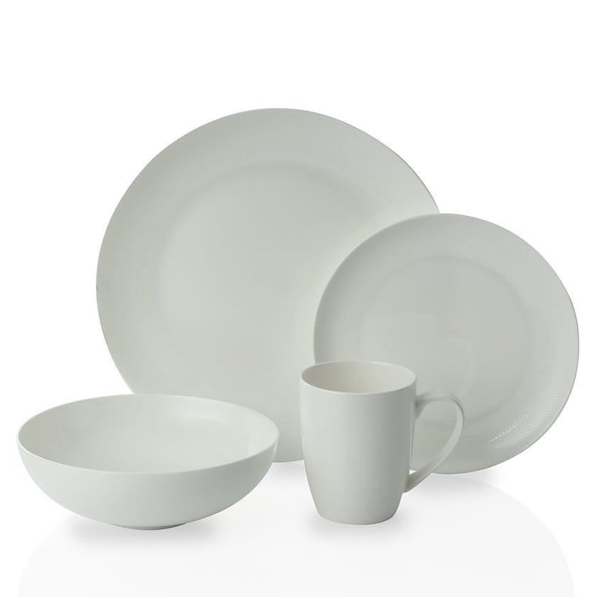 Val-D'or 16-Piece Bone China Dinner Set, White