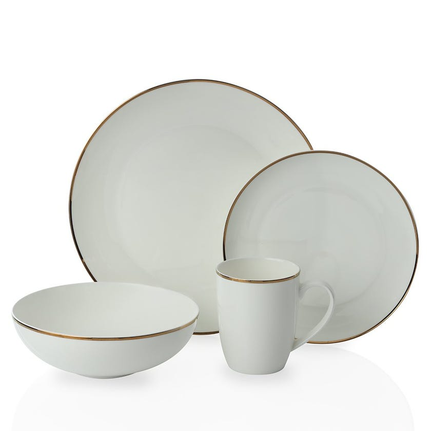 Provence 16-Piece Bone China Dinner Set, White and Gold
