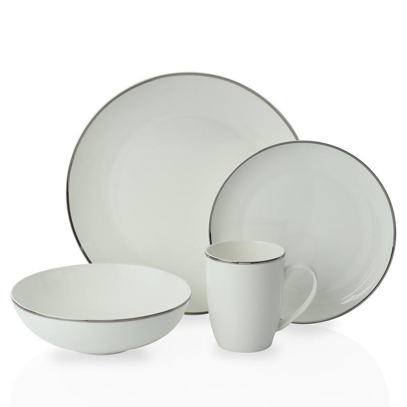 Bradford 16-Piece Bone China Dinner Set, White and Silver