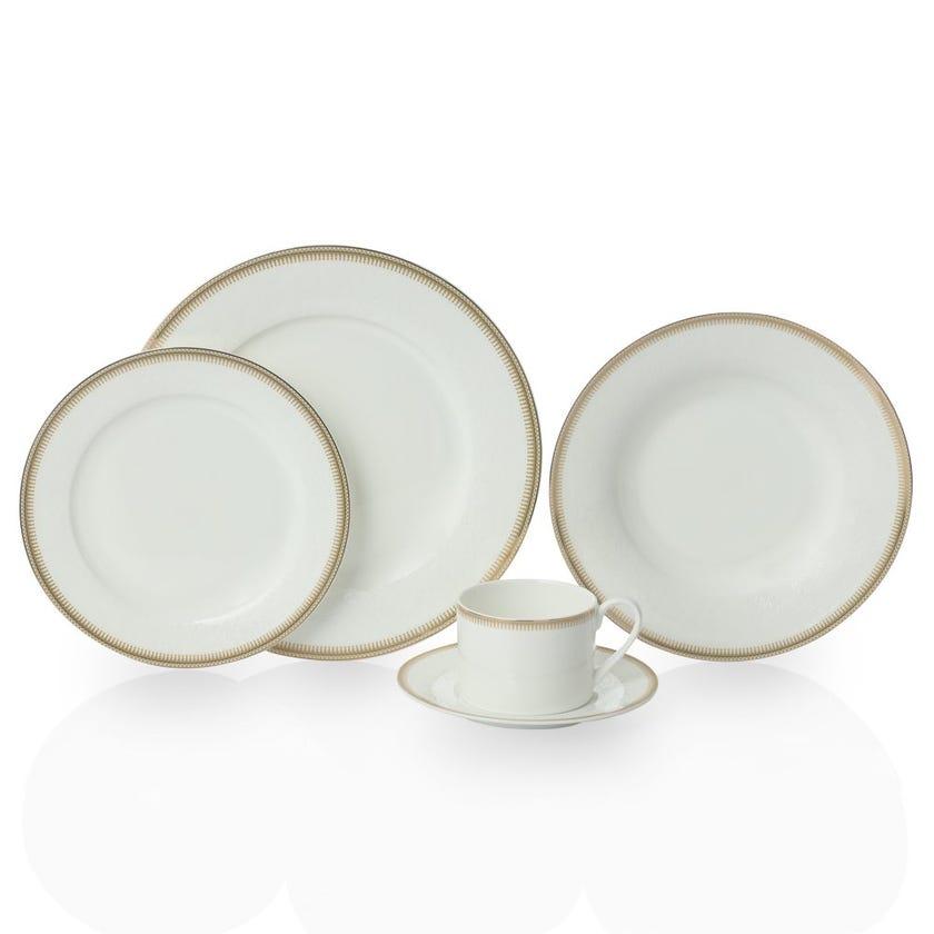 Society 20-Piece Bone China Dinner Set, White and Gold