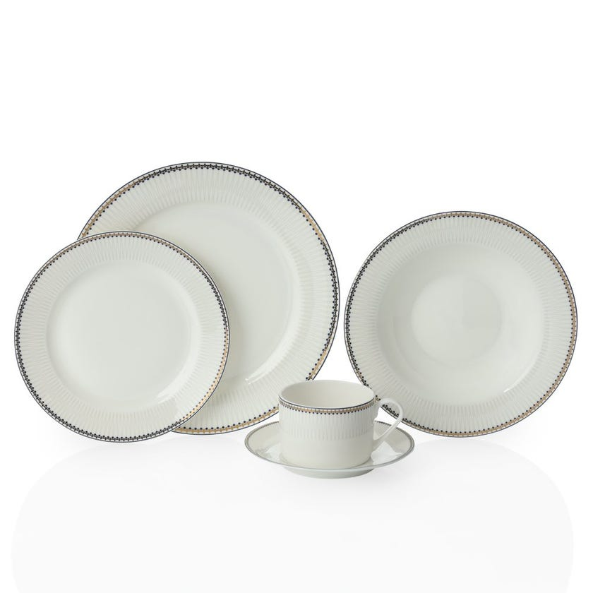 Marquis 20-Piece Bone China Dinner Set, White and Blue