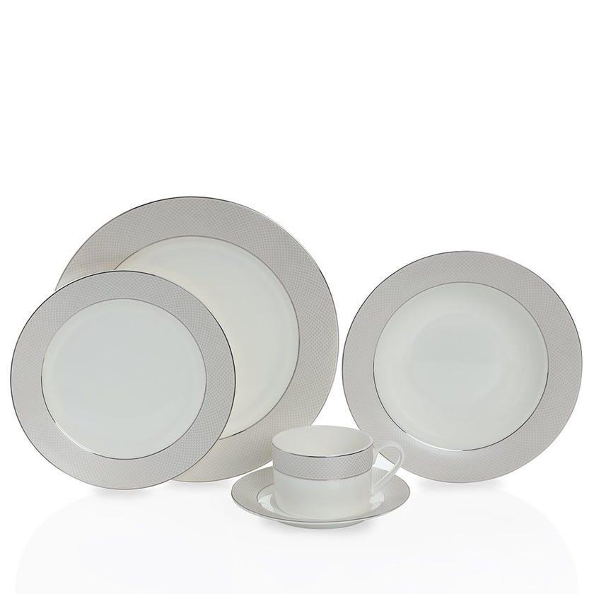 Durham 20-Piece Bone China Dinner Set, White and Silver