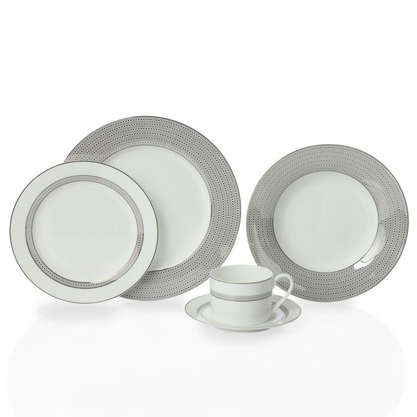 Service De Vaisselle 20-Piece Bone China Dinner Set, White and Silver