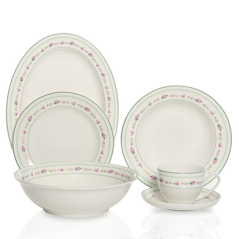 Azalea 22-Piece Porcelain Dinner Set, Multicolour