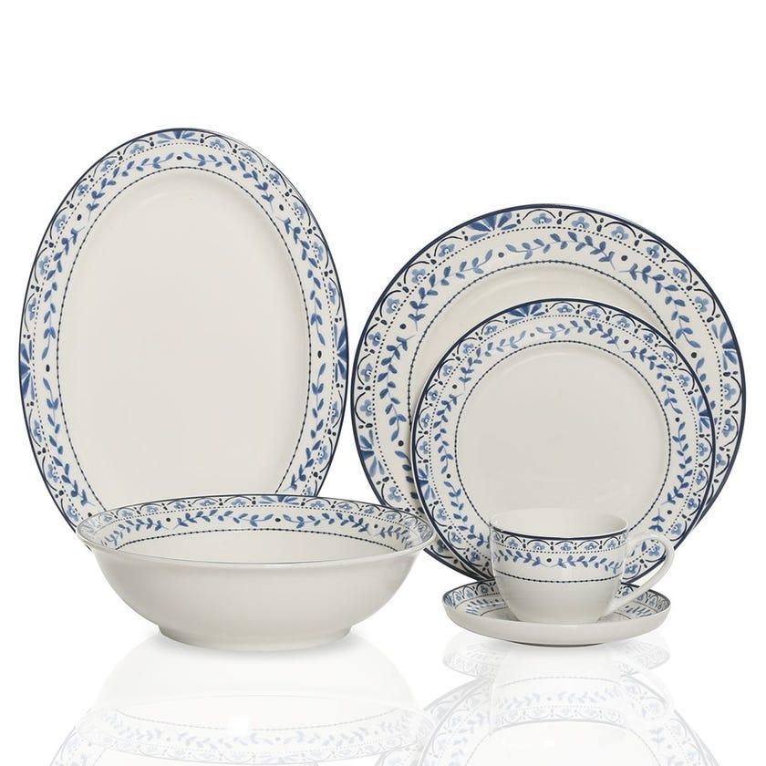 Cachello 22-Piece Porcelain Dinner Set, Multicolour