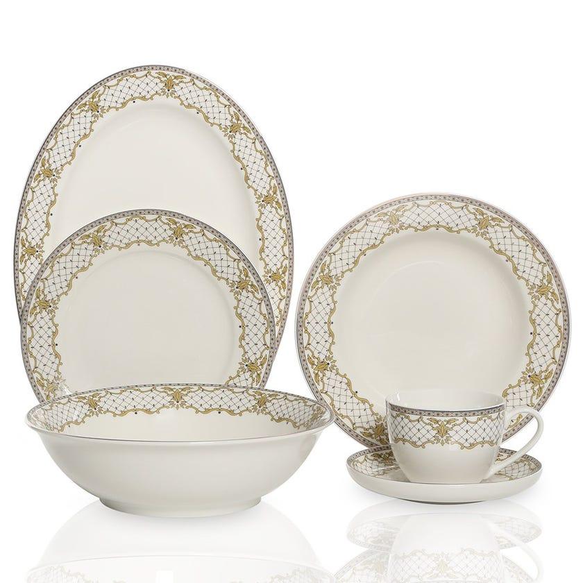 Hestia 22-Piece Porcelain Dinner Set, Multicolour