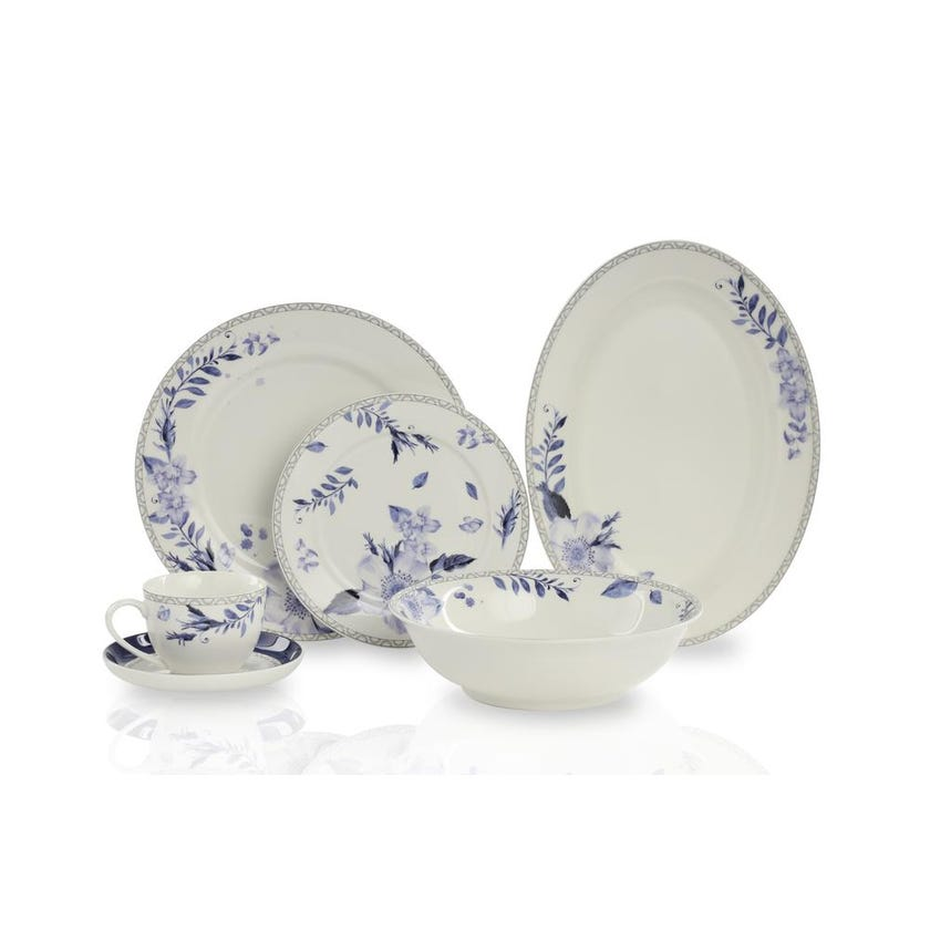 New Bone China Porcelain Dinner Set - Floral Blue, 32 Pieces