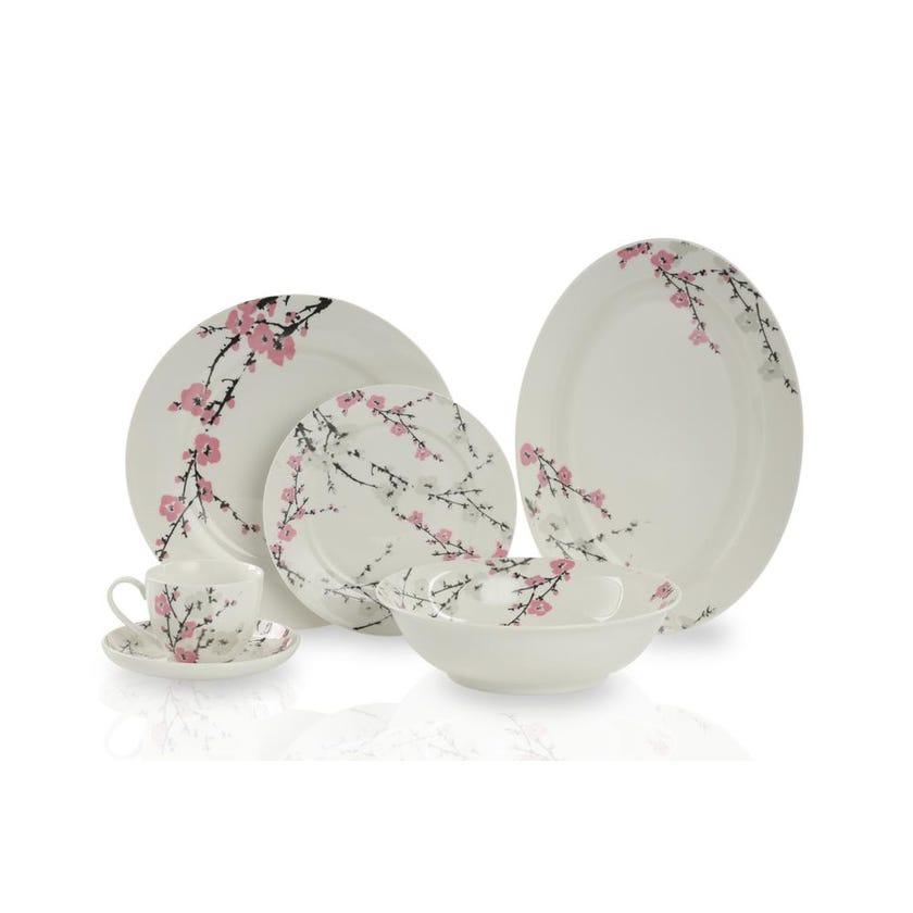 New Bone China Porcelain Dinner Set - Floral Pink, 32 Pieces