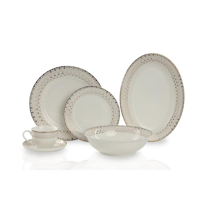 New Bone China Porcelain Dinner Set - Gold Border, 32 Pieces