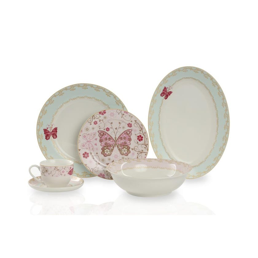 New Bone China Porcelain Dinner Set - Pink Butterfly, 32 Pieces