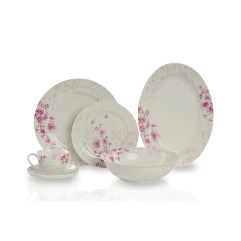 New Bone China Porcelain Dinner Set - Pink Flower, 32 Pieces