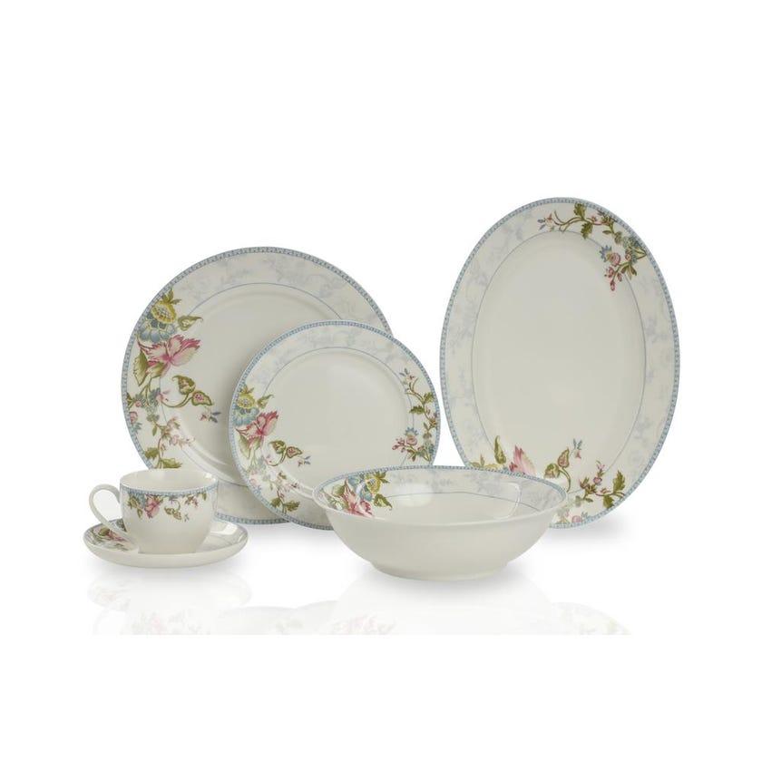 New Bone China Porcelain Dinner Set - Floral Leaves, 32 Pieces