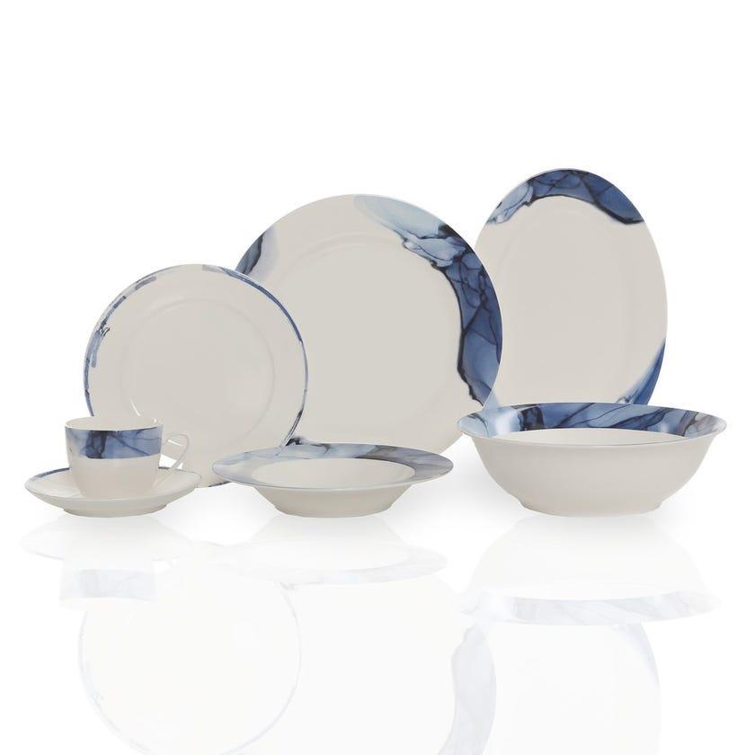 Mavi 32-Piece New Bone China Dinner Set, Blue