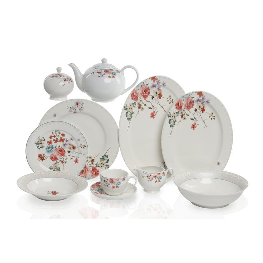 New Bone China Porcelain Dinner Set - Rose Foliage, 49 Pieces