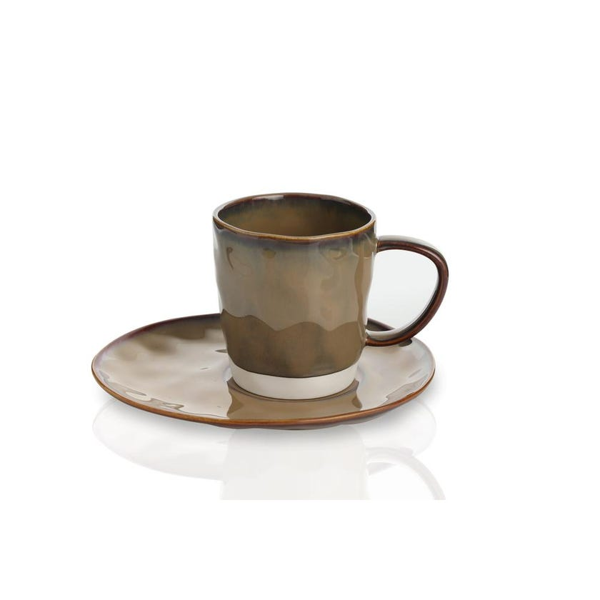 Interiors Porcelain Cup and Saucer - Terracotta