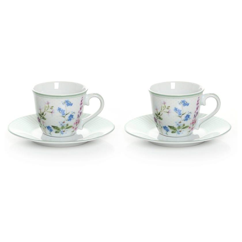 Floraison Coffee Cup & Saucer, Multicolour – Set of 2, 80ml