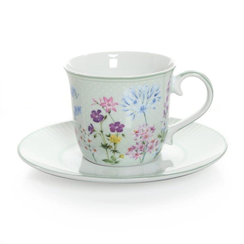 Floraison Tea Cup & Saucer, Multicolour – 200ml
