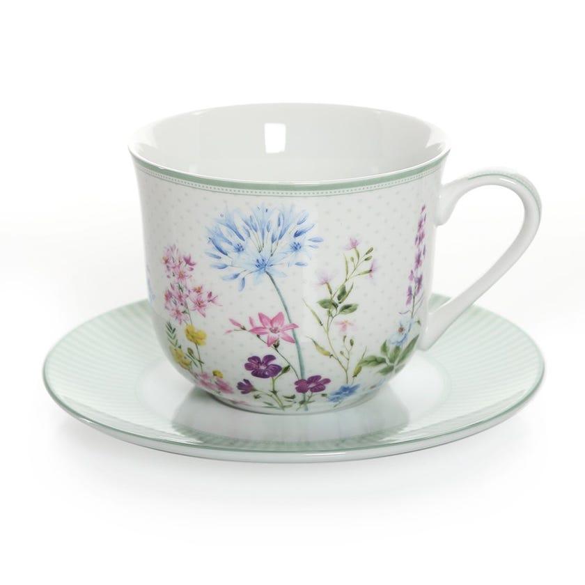 Floraison Breakfast Cup & Saucer, Multicolour – 370ml