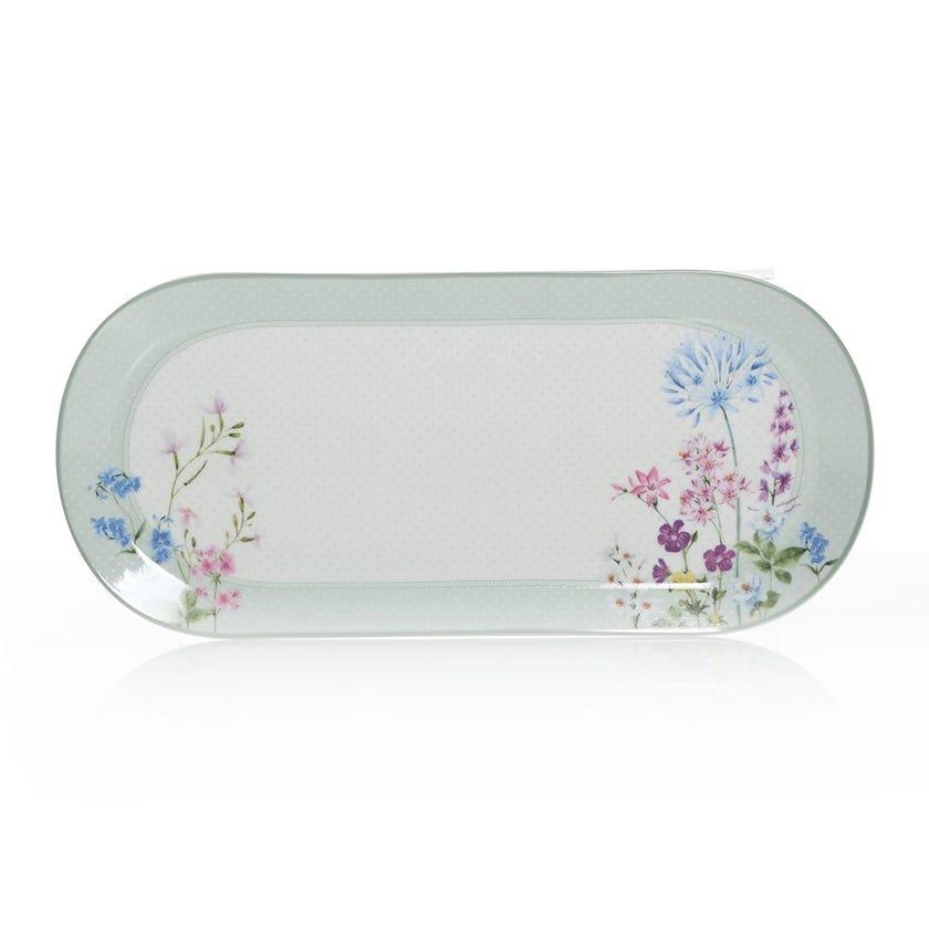Floraison Oval Platter, Multicolour – 23.5x15 cms