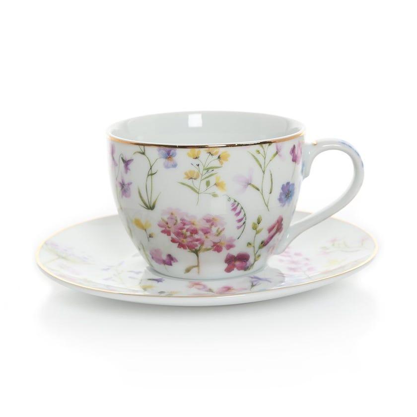 Floral Meadows Tea Cup & Saucer, Multicolour – 240ml