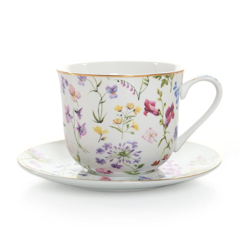 Floral Meadows Breakfast Cup & Saucer, Multicolour – 370ml